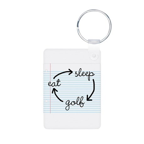 'Eat Sleep Golf' Aluminum Photo Keychain