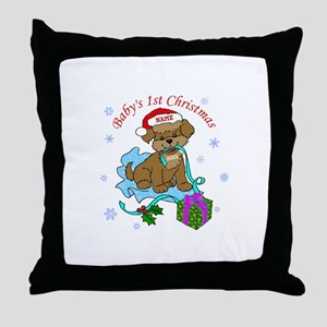 Baby's 1st Christmas Throw Pillow
