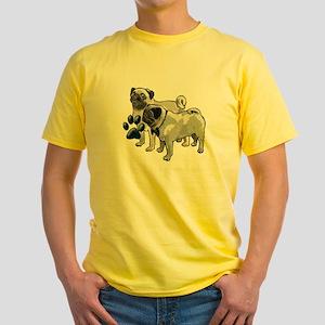 two pugs Yellow T-Shirt