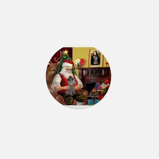 Santa's Silver Toy Poodle Mini Button