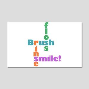 Brush Floss Rinse Smile Car Magnet 20 x 12
