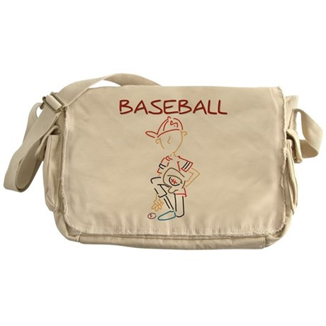 Line Drawn Baseball Messenger Bag