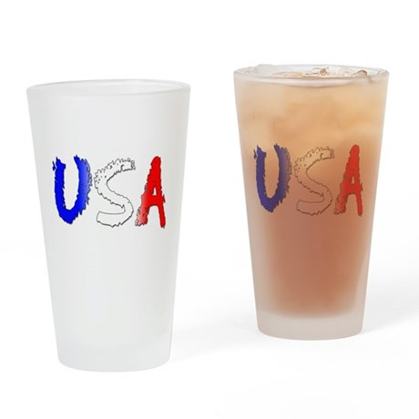 USA red white blue ver1 Drinking Glass