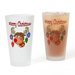 Merry Christmas Reindeer Drinking Glass