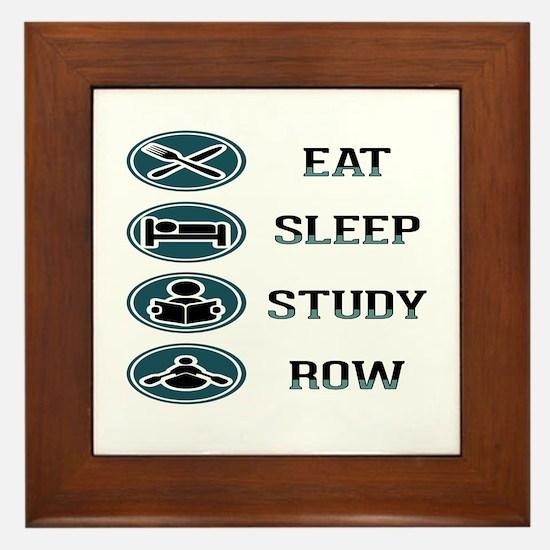 Eat Sleep Study Row Framed Tile