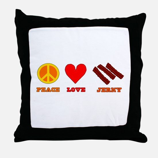 Peace Love Jerky Throw Pillow