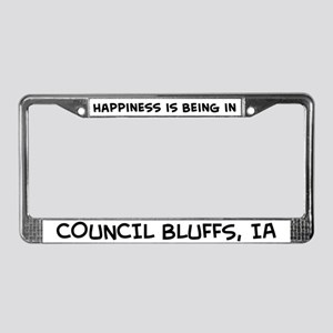 Happiness is Council Bluffs License Plate Frame