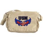 USN Heart Flag Messenger Bag