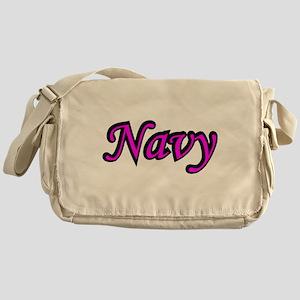 Pink and Black Navy Messenger Bag