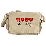 Navy Brat hearts Messenger Bag