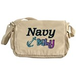 Navy Baby blue anchor Messenger Bag