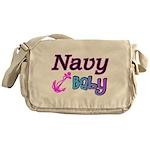 Navy Baby pink anchor Messenger Bag