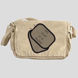 My Dad is a Sailor dog tag Messenger Bag