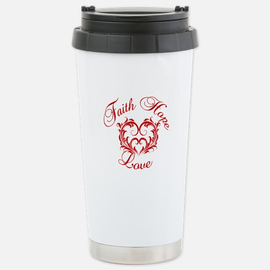 Faith Hope Love Heart Stainless Steel Travel Mug