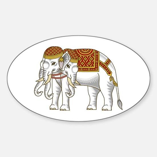 Thai Erawan White Elephant Sticker (Oval)