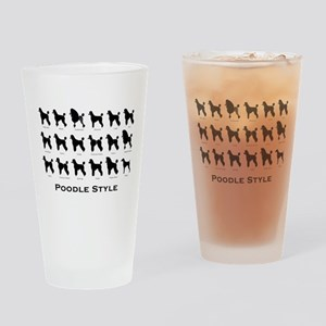Poodle Styles: Black Drinking Glass
