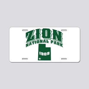 Zion Old Style Green Aluminum License Plate