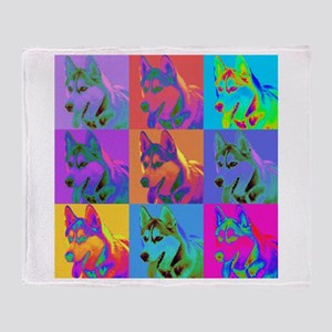 Op Art Siberian Husky Throw Blanket