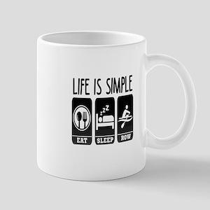 Life Is Simple Eat Sleep Row Mugs