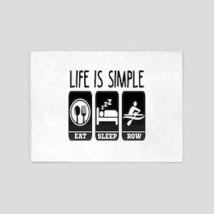 Life Is Simple Eat Sleep Row 5'x7'Area Rug
