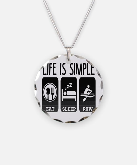 Life Is Simple Eat Sleep Row Necklace