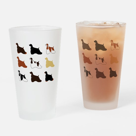 Colorful Cockers Drinking Glass