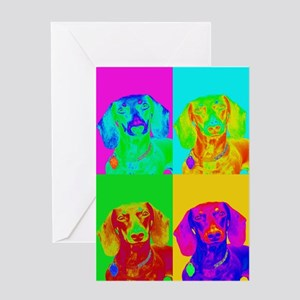 Op Art Doxie Greeting Card