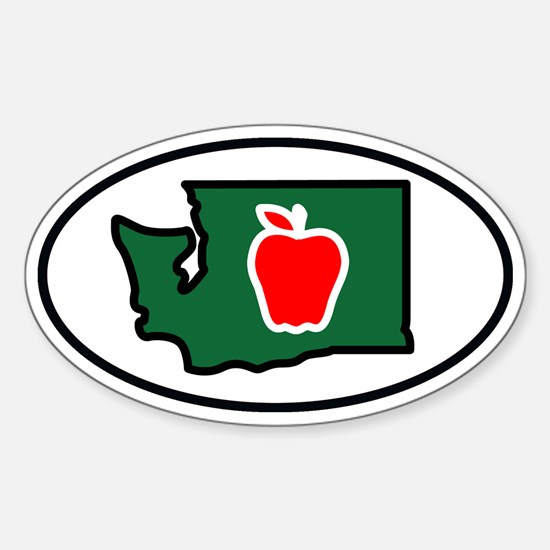 Washington State Apple Sticker (Oval)
