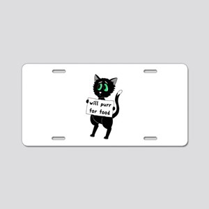 Will Purr For Food Aluminum License Plate