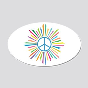 Peace Symbol Star 20x12 Oval Wall Decal