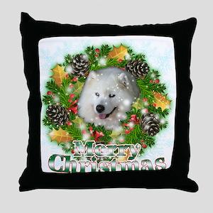 Merry Christmas Samoyed Throw Pillow