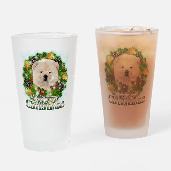 Merry Christmas Chow Chow Drinking Glass