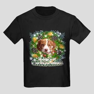 Merry Christmas Brittany Span Kids Dark T-Shirt