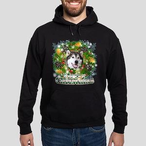 Merry Christmas Alaskan Malam Hoodie (dark)