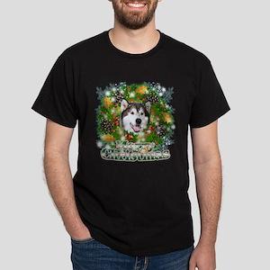 Merry Christmas Alaskan Malam Dark T-Shirt