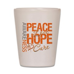 Leukemia Peace Love Hope Shot Glass