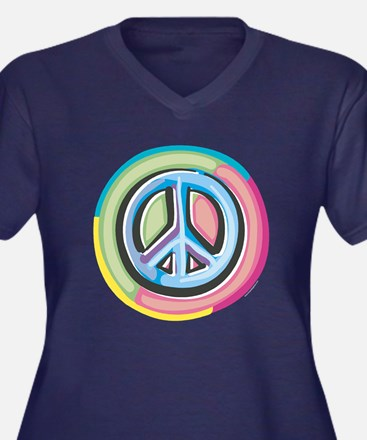 Colorful Peace Sign Women's Plus Size V-Neck Dark