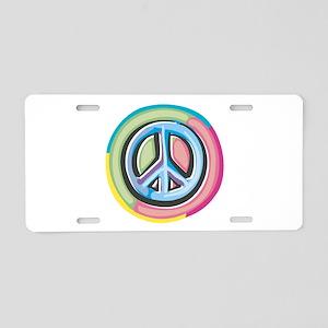 Colorful Peace Sign Aluminum License Plate