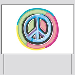 Colorful Peace Sign Yard Sign