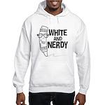 White And Nerdy Hooded Sweatshirt