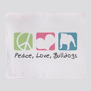 Peace, Love, Bulldogs Throw Blanket