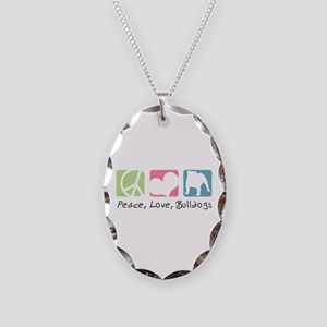 Peace, Love, Bulldogs Necklace Oval Charm