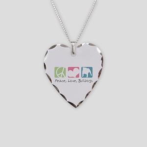 Peace, Love, Bulldogs Necklace Heart Charm