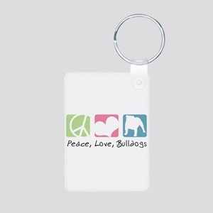 Peace, Love, Bulldogs Aluminum Photo Keychain