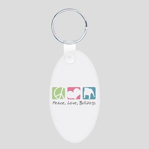 Peace, Love, Bulldogs Aluminum Oval Keychain