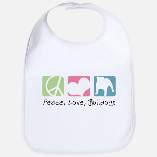 Peace, Love, Bulldogs Bib