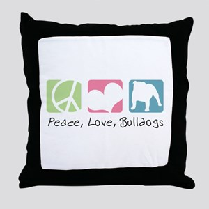 Peace, Love, Bulldogs Throw Pillow