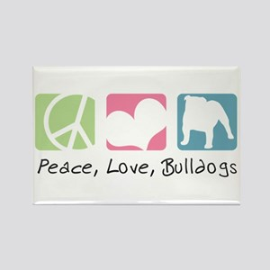 Peace, Love, Bulldogs Rectangle Magnet