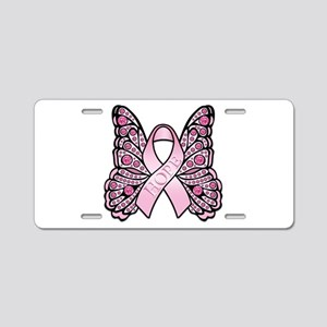 Pink Butterfly Hope Aluminum License Plate