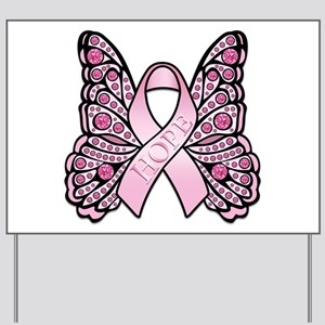 Pink Butterfly Hope Yard Sign
